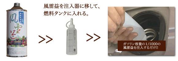 風雷益 (燃料添加剤)使用方法